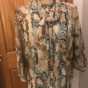 Coldwater Creek blouse w/ detachable scarf lined M